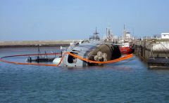 ARA Santisima Trinidad sunk at Belgrano port