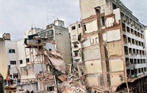 What was left of the AMIA building bombing in 1994