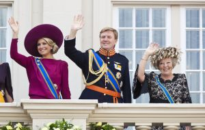 Queen Beatrix with Prince Willem-Alexander and Princess Maxima