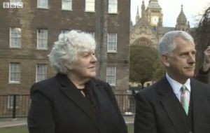 Jan Cheek and Dick Sawle interviewed by the BBC outside Westminster