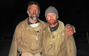 Expedition leader Tim Jarvis and mountaineer Barry Gray upon arrival in Stromness, South Georgia