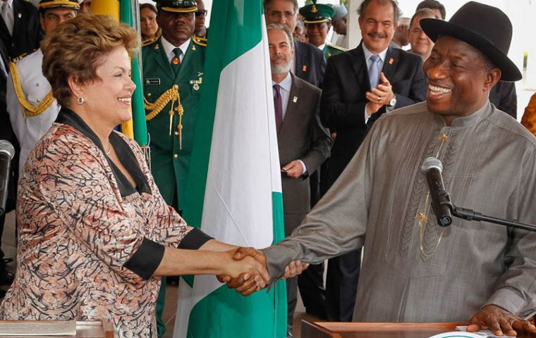 President Dilma Rousseff and his Nigerian counterpart Goodluck Jonathan in Abuja