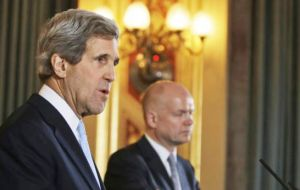 Kerry and Foreign Secretary Hague at the press conference: 'I'm not going to comment on the referendum""