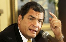"Correa blasted the 'scandalous attitude of the international tribunal"" which ordered him to suspend the ruling of an Ecuadorean court"
