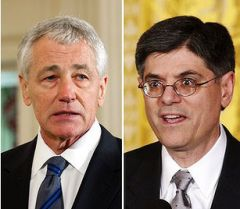 Next Treasury Secretary Lew (R) has fans among Republicans but Hagel (L) arrives at the Pentagon quite bruised