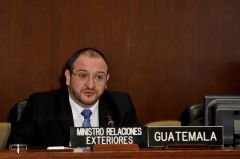 Guatemala's Foreign minister Carrera Castro making his presentation before the OAS Permanent Council
