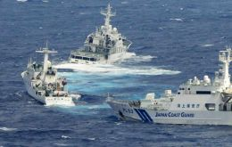 Chinese patrol vessels challenging the Japanese