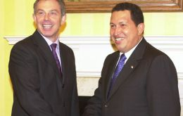 Chavez visited the UK several times and in 2001 met with the Queen and then PM Tony Blair