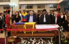 The Uruguayan president at Chavez funeral in the Caracas military academy  (Pic AP)