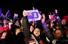 Falkland Islanders gathered despite freezing temperature to celebrate at the Arch Green next to Stanley's cathedral (Pic Reuters)