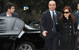 Cristina Fernández arrived on Sunday to Rome in a private jet