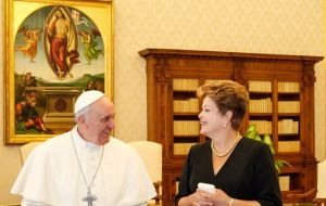 The Brazilian president meets with the Pope in the Vatican Library