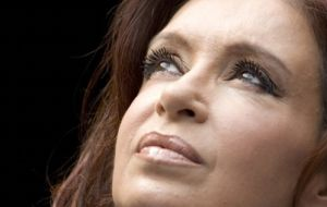 Cristina Fernandez looking to the sky for help with mundane problems