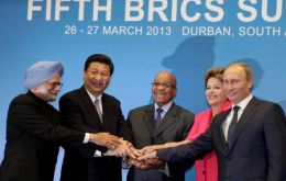 Host President Zuma (Center) host of the summit next to the other BRICS leaders