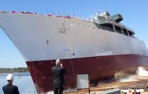 USNS Maury was launched at the VT Halter shipyard in Moss Point