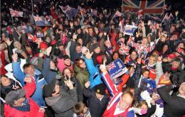 Falklanders celebrating the March 10/11 referendum