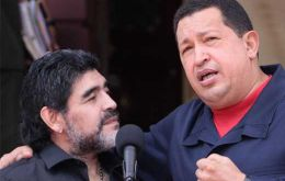 The former Argentine football star was an admirer and close friend of Hugo Chavez