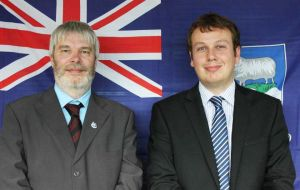 MLA Short and Stacey displaying the colours of the Falklands