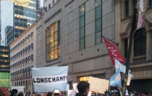 Several hundred people gathered in front of the New York City Argentine Consulate (Photo by D. Michaels - NY)