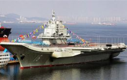 'Liaoning' is China's first carrier and was built around a Soviet-era hull; it began trials at sea last year.