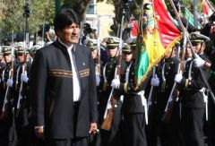 President Evo Morales inspecting a formation of the Bolivian Navy
