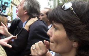 Nestor Kirchner and his secretary during one of the many political rallies.