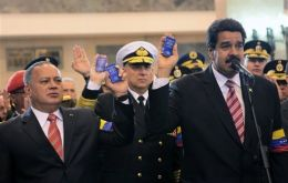 The head of the National Assembly Cabello, Defence minister Molero and president Maduro