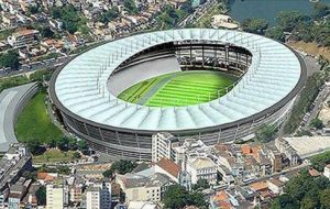 The Salvador stadium, one of the six which President Rousseff proudly christened