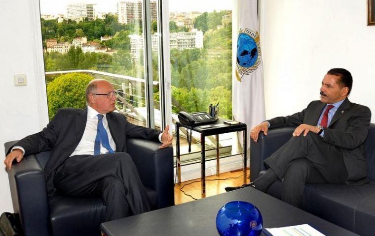 Timerman visited Interpol headquarters and met with Secretary General Richard K Noble in Lyon