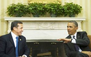 """Peru is one of our strongest and most reliable partners in the hemisphere"", said Obama at the White House next to Humala"