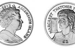 A recent portrait of Baroness Thatcher and the obverse with an effigy of Queen Elizabeth II.