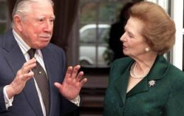The famous picture of Thatcher when she visited Pinochet at his house arrest in England