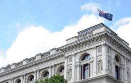 Foreign Office flying the Falklands' colours on 14 June, Liberation Day from the Argentine April 1982 military invasion