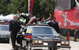 The Venezuelan president at the head of the Carabobo battle celebrations
