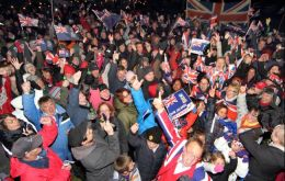 Falkland Islanders celebrating results of the March referendum (Pic by T.Chater)