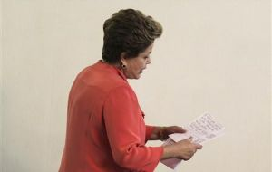 Rousseff arrives at a news conference after the ministerial meeting in Brasilia