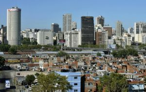 Slums or 'misery villas' in downtown Buenos Aires, just a few blocks from Government House