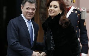 The president will be visiting her peer Colombian Juan Manuel Santos