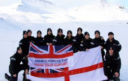 The twelve strong team that crossed 26 miles of the island (Photo RN)