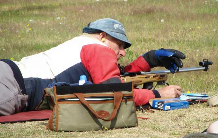 Ken Aldridge and  Gareth Goodwin and are competing at the Bisley shooting range