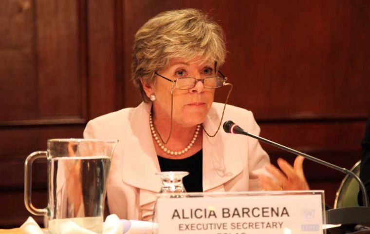 ECLAC Executive Secretary Bárcena said the current situation highlights problems of growth sustainability in most of the region