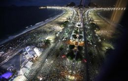 View of Copacabana beach during Pope Francis visit