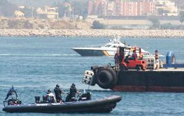 The standoff between Gibraltar and Royal Navy vessels with the Guardia Civil fast boats and Spanish fishermen  (Photo: Gibraltar Chronicle)