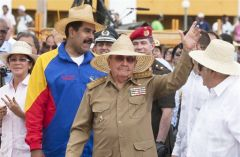 The Cuban president next to peers from South America and the Caribbean