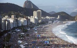 The impressive overview of the Copacabana beach packed with 3 million people (Pic AP)