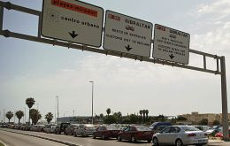 Long queues at the border crossing imposed by Spain's Guardia Civil