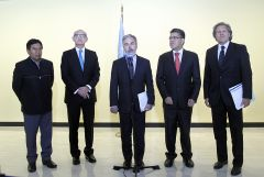 The five ministers during a press conference following the meeting  with UN Secretary General Ban Ki-moon