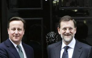 PM Cameron and PM Rajoy agreed that Gibraltar issues could not become an obstacle in the bilateral relations