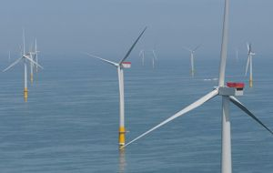 The newly opened wind farm off Suffolk and its 140 turbines