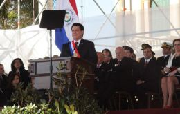 Cartes during his first speech as a new President surrounded by his cabinet and special guests